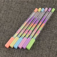 Wholesale Rainbow Office Supplies - Wholesale- 4 Pcs Lot Rainbow Color Gel Pen 6 In 1 Color Pens DIY Album Photo Decoration Highlighter Marker Pen Office Supplies