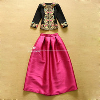 Wholesale Heavy Embroidery Suits - Wholesale- Europe and U.S. 2016 Retro Heavy Embroidered Jacket and Ball Skirt Sets Fashion Suits Vintage Charming Sets