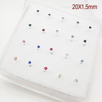 Wholesale Nose Rings Studs Crystal - 925 Sterling Silver Nose Stud With 1.5mm Crystal Nose Ring 1set 20 pcs Wholesale