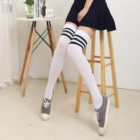 Wholesale thick thigh high socks - Wholesale- Spring Autumn Thick Pantyhose Stockings HOT Girls Sexy Thigh High Stockings Baseball Over Knee Socks