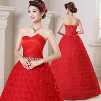 Wholesale Strapless Fold Wedding Dress - quick Free shipping DHL EMS epacket! Hot sale fashion red strapless fold with flowers Wedding dresses HS081-120