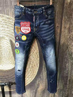 Wholesale Badge Embroidery Designs - Luxury high end italy DQ2 washed patchwork new designed Embroidery badge DAN Distrressed ripped jeans