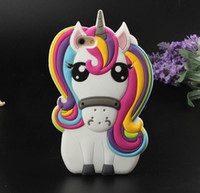 Wholesale Horse Cases - 3D Cartoon Unicorn Soft Rubber Case For iPhone 5 6 7Plus Silicone Funny Back Cover Coque Capa For Iphone 8 Colorful Horse Cover