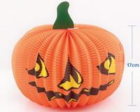 освещенные тыквы оптовых-Хэллоуин тыква огни лампы бумажный фонарь пауки летучие мыши череп шаблон украшения поставки лампы баллоны лампы для детей фестиваль продажа CPA933