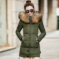 Wholesale Large Size Down Coats - New 2017 Fashion Large Fur Collar Women'S Coats Thickening Winter Coat Long Down Cotton Jacket Female Silm Padded Parkas Plus Size 3XL