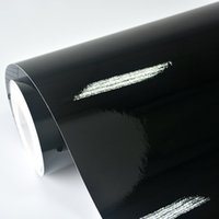 vinyl wraps für autos rollen großhandel-Großhandels-2ft x 5ft Glanz-Schwarz-Vinylfahrzeug-Auto-Verpackungs-Aufkleber-Abziehbild-Rolle mit Luftblasen-Freigabe