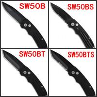 "Wholesale Wholesale Automatic Knifes - KIMTER SW Extreme Ops Tanto   Drop Point Automatic Knife (3.25"" Black ) Plunge Lock Folding knives SW50B SW50BS SW50BT SW50BBTS"