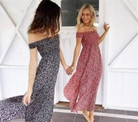Wholesale Plus Size Beach Lace Sundresses - Plus Size Summer Off Shoulder Boho Tube Dress Cute Flower Printed High Split Sundress Sexy Casual Party Beach Maxi Dress