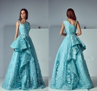 Wholesale Sexy One Pieces Party Wear - Saiid Kobeisy Ruffles Lace Skirt Prom Party Dresses 2017 Modest  Blue Applique Stain Dubai Arabic Occasion Dresses Evening Wear