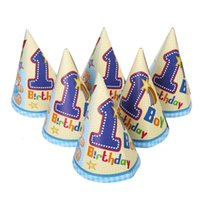 Grossiste-6pcs joyeux anniversaire décoration de fête Enfant mignon 1ère Little Bear motif de bande dessinée Birthday Paper Hat Événement Kids Party Supplies