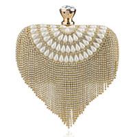 Wholesale Faux Fur Clutch - Womens Glitter Rhinestone Tassel Pearl Curve Clutch Crystal Tassel Bridal Clutch Evening Bag Party Purse Handbag