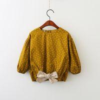 Wholesale Girls Fashion Blouse - Girls Floral Tops Kids Clothing 2017 Autumn Polka Dot Bow Shirt Fashion Long Sleeve Clothing HX-440