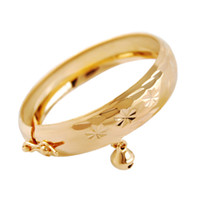 Wholesale Allergic Free High Quality Luxury Real K Yellow Gold Plated Bell Bracelet Bangle for Baby Children Nice Gift Bracelet Bangle for Kids