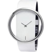 прозрачные кварцевые мужчины оптовых-Очаровательная Новая Женская кожа прозрачный циферблат лаконичный Спорт кварцевые часы подарок Наручные часы для женщин мужчины LL0265