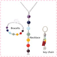 Wholesale Key Ring Strings - 1set lto Hotselling Rainbow natural stone pendants necklace silver hand chain+key rings agate Y-shape Strands gifts for Friends