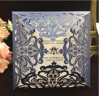 Wholesale Elegant Wedding Invitation Cards - Navy Blue Free Printed Wedding Invitations Cards With Hollow Out Rustic Laser Cut Invitation Card Flowers Elegant Party Invites