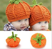 Wholesale Baby Clothes Direct - Newborn baby pumpkin hat crochet knitting pumpkin child handmade wool hat factory direct clothing winter hat Halloween pumpkin gift