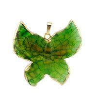 Wholesale Natural Jade Butterfly - Aqua3merine Natural Stone Butterfly Animal Pendants