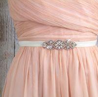 Wholesale Elastic Rose Belt - Crystal Rhinestone Wedding Gown Sash Belt Rose Gold Rhineston with Ivory Elastic Belt Elegant Fashion Design Wedding Accessories