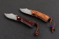 Wholesale best pocket knife for camping resale online - Promotion Damascus Folding Knife Rosewood Handle EDC Pocket Knives With Nylon Bag and Retail box Best Gift For Children EDC Tools