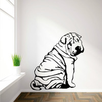 Wholesale Vinyl Autocollant - SHAR-PEI SHARPEI art mural en vinyl Wall Sticker autocollant decalque canine animal a theme Mural Wallpaper Sticker Muraux