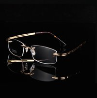 507bb569c7 Classical designed A+ gold rimless glasses Ultra-light 9039 Memory  Pure-Titanium Business rimless men big square frame prescription eyewear