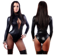 sexy langes schwarzes körperkleid groihandel-Damen Overall Schwarz Sexy Leder Kleider Langarm-Body Erotic Body Latex Catsuit Kostüm dongguan_wholesale auf Lager