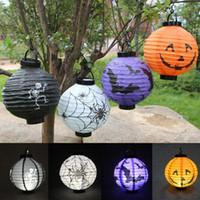 светодиодные лампы оптовых-LED Halloween Pumpkin Lights Lamp Halloween Paper Lantern Spiders Bats Skull Pattern Decoration LED Батареи для ламп Ballons Лампы для детей