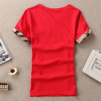 camiseta cinza venda por atacado-Camisetas femininas de algodão moda xadrez de mangas curtas o pescoço senhoras tops tees marca 100% t-shirt das mulheres top roupas blace vermelho branco