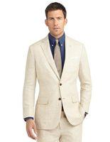 Wholesale Grooms Linen Wedding Suits - Wholesale- Summer Casual Champagne Linen Men Suits Notched Lapel Tuxedos Wedding Suits For Men Two Button Groom Suits (jacket+pants)