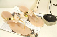 Wholesale ladies jelly sandals - Bow Thong Jelly Beach Shoes Hoof Heels Woman Jelly Flip Flops Sandals Patchwork Indoor Ladies Flat Slippers