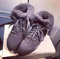 Wholesale Toes Shoes For Kids - 2017 winter kid suede flat heel snow Ankle Boots for women Round toe lace up short boots genuine leather fur boots casual shoes