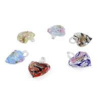 Wholesale Handmade Pack For Jewelry - Handmade Art Big Heart Lampwork Pendants Murano Glass Heart Pendant for Jewelry making 12pcs pack MC0017