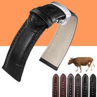 bracelet de montre en cuir 18mm achat en gros de-Bracelet en cuir véritable pour bracelet de montre pour IWC / Tissot 12mm 13mm 14mm 15mm 16mm 18mm 19mm 20mm 22mm 24mm