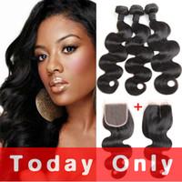 Wholesale Brazilian Body Wave Hair 12 - Brazilian Human Hair Body Wave 3 Bundles With Closure Brazilian Body Wave Virgin Hair Can Be Dyed and Bleach
