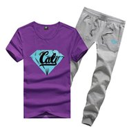 Wholesale Diamond Supply Shirts Free Shipping - R362 FREE SHIPPING men's Diamond Supply set cotton t shirts + long pants skateboard solid hip hop letter Leisure suit