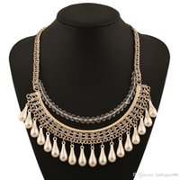 Wholesale New European Style Statement Necklace - New Design European Exaggerated Necklaces & Pendants Bohemia Metal Style Multi-layers Crystal Statement Necklace