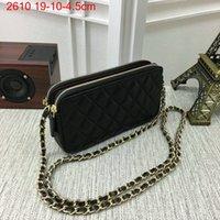 Wholesale Double Flap Purse - Women Handbags lambskin Mobile Phone Bag Designer Clutch Bags Double Zipper Shoulder Bag mini 19cm Caviar Leather Handbags Purse 2610