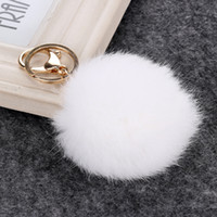 Wholesale Rabbit Fur Ball Keychain Soft Fur Ball Lovely Gold Metal Key Chains Plush Ball Car Keyring Bag Accessories