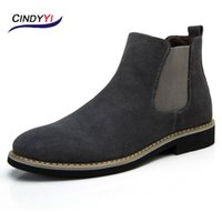 Wholesale Black Chelsea Boots Flat - 100% Genuine Leather Mens Dress Shoes boots fashion Chelsea Boots Men's Shoes Boots Spring summer autumn winter