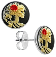 Wholesale Earring Cameo - Wholesale Stud Earrings 50 pieces lot Stainless Steel Skeleton Cameo Ear Studs Cheater Fake Plugs Size 10mm*1.2mm ZCST-012