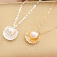coquilles d'abalone achat en gros de-Mode simple perle shell pendentif court collier femme collier de clavicule or argent plaqué en gros livraison gratuite vente chaude