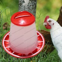 Wholesale Chicken Water Feeder - 2017 NEW 1Pc Red 1.5kg Plastic Feeder Baby Chicken Chicks Hen Poultry Feeder Lid & Handle free shipping MYY