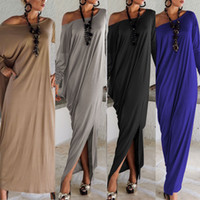 Wholesale Maxi Length - 2017 Spring Summer Women Clothes Fashion Dress Long Sleeve Maxi Dress Irregular Plus Size Oversize Loose Dresses