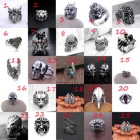 Wholesale Wholesale Rhinestone Skeleton Ring - Free Shipping - Men's Stainless Steel Popular New Style Selling Fashion Cool Gothic Punk Biker Finger Rings Jewelry + Free Gift