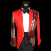Wholesale Renaissance Pants Men - Plus size Red sequined mens suit prom party suit& Blazer Medieval Renaissance Bandmaster Black Costume S-3XL