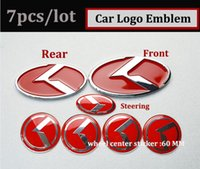 Mode Red 7pcs Car Wheel Center Cap Trunk Emblem Autocollant 3D Boot Logo Hood Volant Label Badge Couverture kia OPTIMA K2 / K3 / K4 / K5 sorento