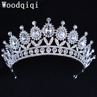 Wholesale Crowns Pageants Beauty - Woodqiqi Large Contoured Tiara Brides Crown Austrian Rhinestone Beauty Contest Hair Jewelry Wedding Parade Pageant Prom