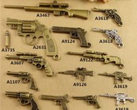 Wholesale Ancient Gun - DIY jewelry handmade materials retro 24 revolver pistol charms, ancient bronze alloy accessories rifle Machine gun pendant military weapon