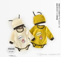 Wholesale Baby Bee Hat - INS new arrivals fall baby kids climbing romper long sleeve round collar little bee print romper boy girl romper hat 100% cotto rompers 0-2T